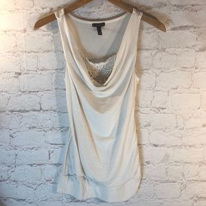 GORGEOUS FANG CREAM LONG TANK W/EMBROIDERED NECK